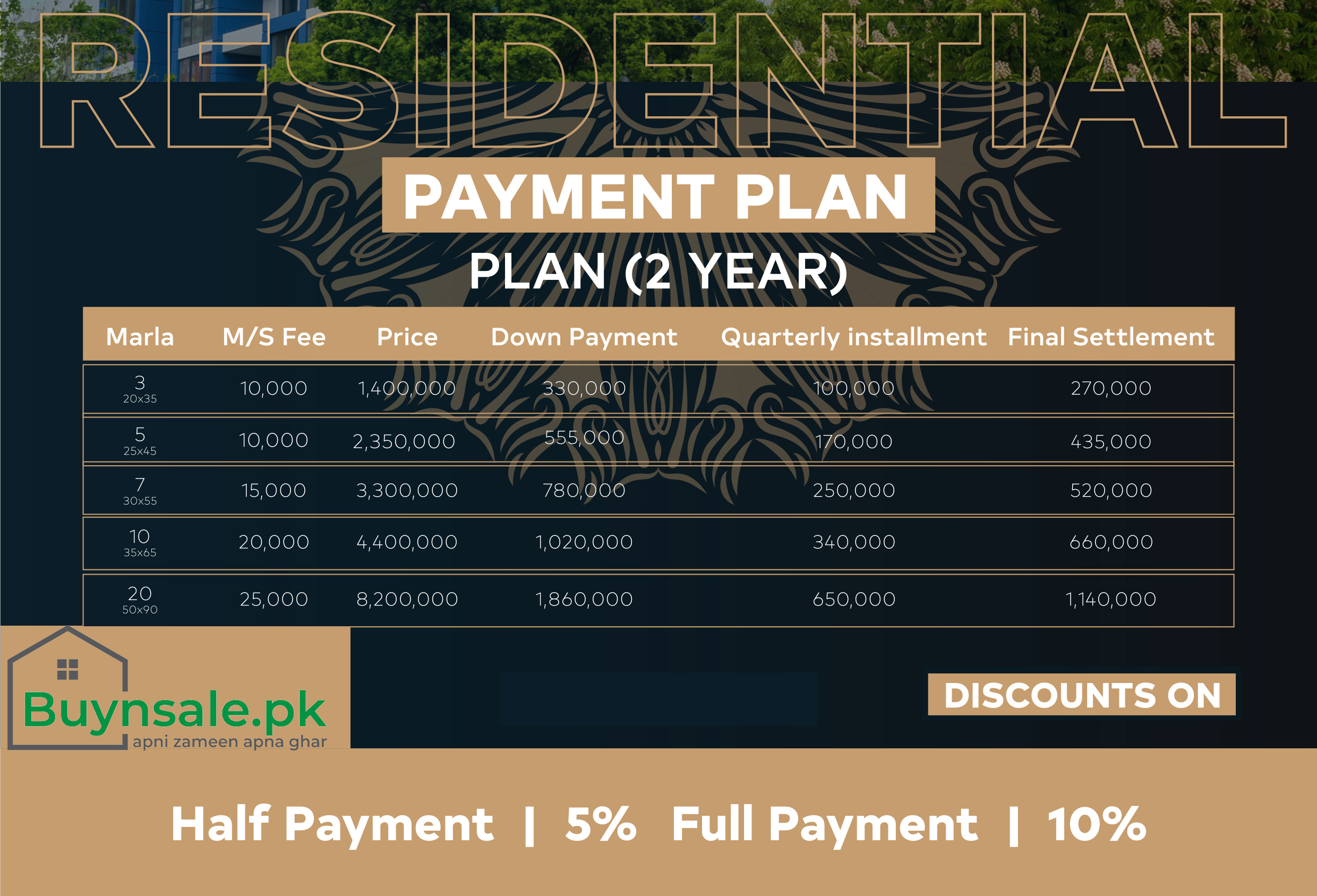 Hill view Garden Islamabad Residential payment Plane